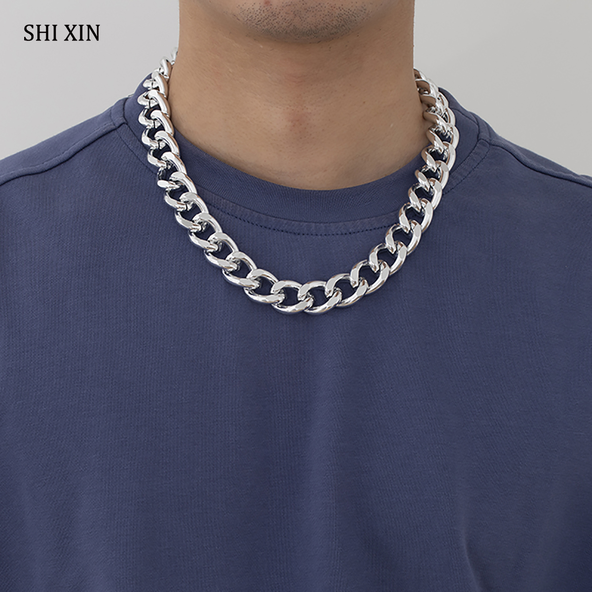 SHIXIN хип-хоп массивное короткое ожерелье на шею для мужчин/женщин мужчин Панк Egirl толстые кубинские звенья цепи ожерелья на шею колье