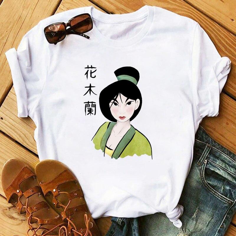 Women Shirts Fashion Mulan Princess T-shirts Print Tee Shirt Harajuku Kawaii Streetwear Tshirt Plus Size Summer T Shirt Cartoon 3
