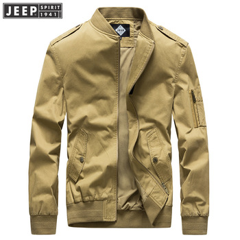 JEEP SPIRIT Casual Jacket Men Solid Color Cotton Polyester Men Coat With Epaulet Baseball Jacket chaqueta hombre
