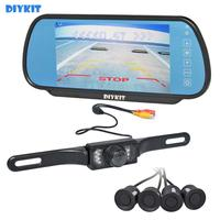 DIYKIT 7 Rear View Car Mirror Monitor + 18 Colors Video Parking Radar + IR Car Camera Parking Assistance System