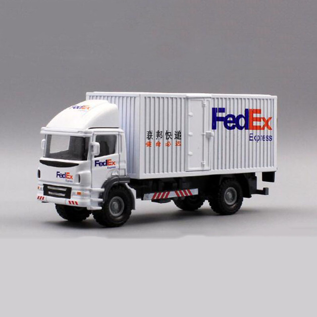 1:60 Scale Toy Car Metal Alloy Commerical Vehicle Express FedEx Van Diecasts Cargo Truck Model Toys F Children Collection