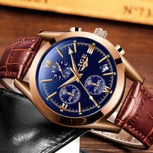 Image 3 - LIGE montre en cuir pour hommes, montre à Quartz de sport, marque de luxe, étanche, avec boîte