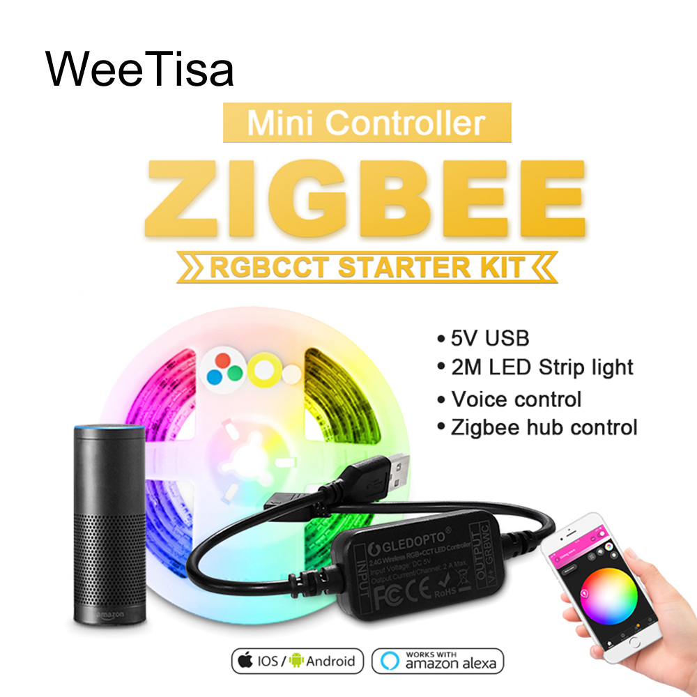 Zigbee USB LED Strip RGBCCT TV Background RGBWW 5V 2M Smart Stripe Tape Zigbee Mini Controller Work With Amazon Alexa Echo Plus