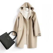 Mozuleva Winter New Elegant Women's Two-Tone Double-Faced Woolen Mid-Length Wool Overcoat Hooded Dark Buckle Woolen Coat Women(China)