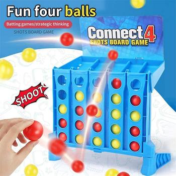 Bouncing Linking Shots Educational Toys Children'S Portable Jump Ball Four-Line Board Game Toy For Children image
