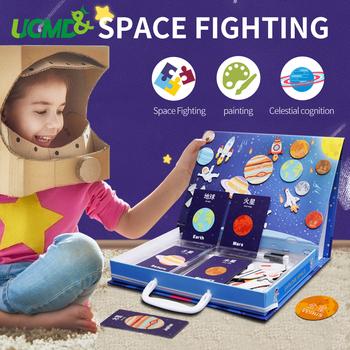 Montessori Puzzle edukacyjne zabawki odkrywanie przestrzeni magnes Puzzle układ słoneczny planeta nauka Puzzle dla dzieci tanie i dobre opinie UCMD Unisex 3 lat Papier układanka magnetyczna cartoon UT1929H27320542 Jigsaw 273 x 42 x 205 mm gift box packing suitcase packing