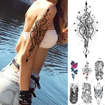 Wodoodporna tymczasowa naklejka tatuaż koronki róża kwiaty Lotus Flash tatuaże wilk tatuaże do ciała ramię fałszywy rękaw tatuaż kobiet tanie i dobre opinie MANZILIN 21X11 5cm XQB125 Zmywalny tatuaż