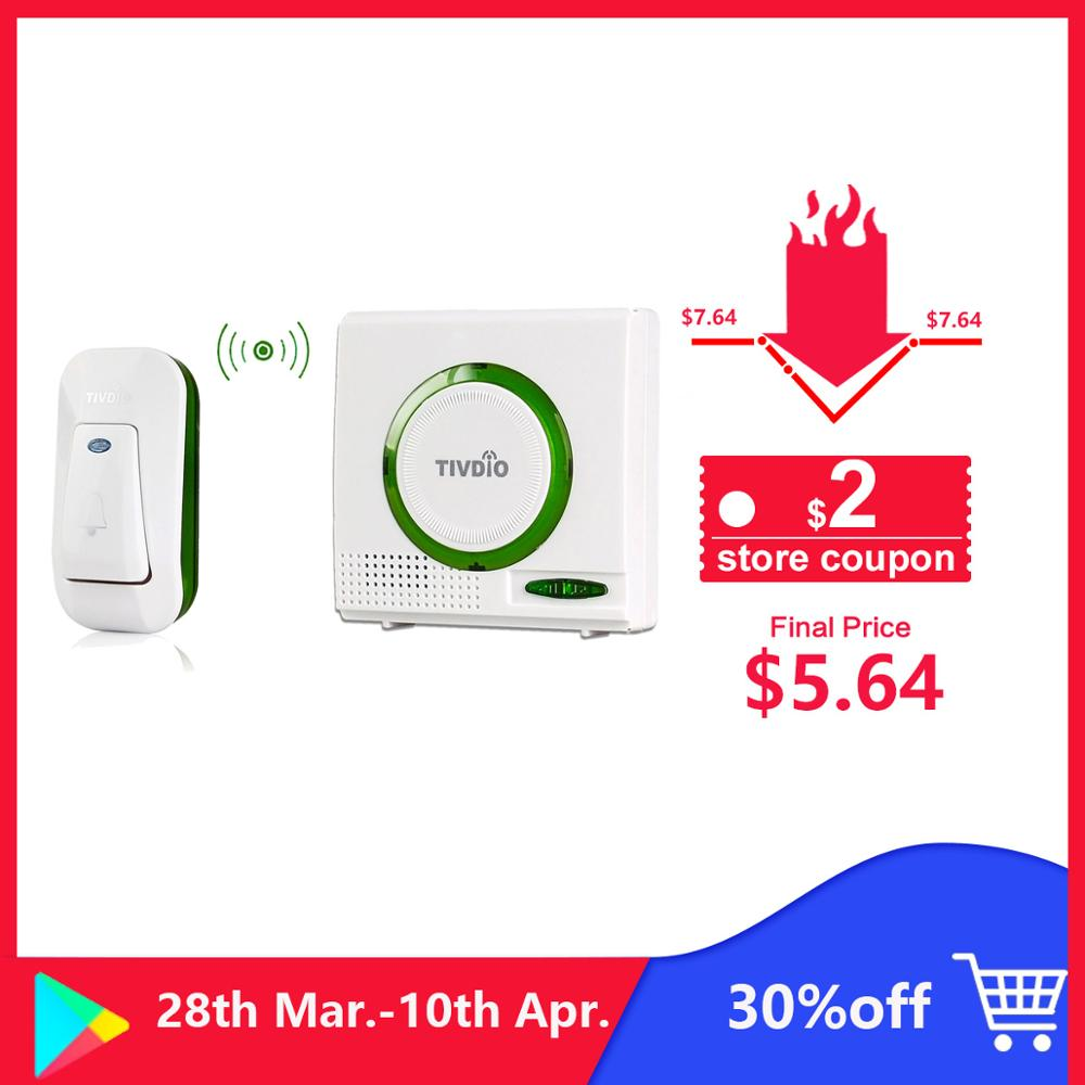 Wireless Doorbell Battery Chime Kit Remote Button Door Bell With Receiver LED Indicator F9508