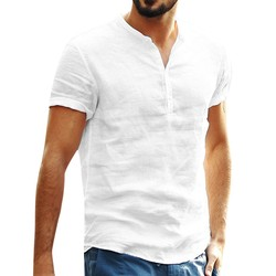 Chemise Homme White shirt Linen Shirts for men pure color blouse Short Sleeve Retro casual Tops vintage shirt рубашка
