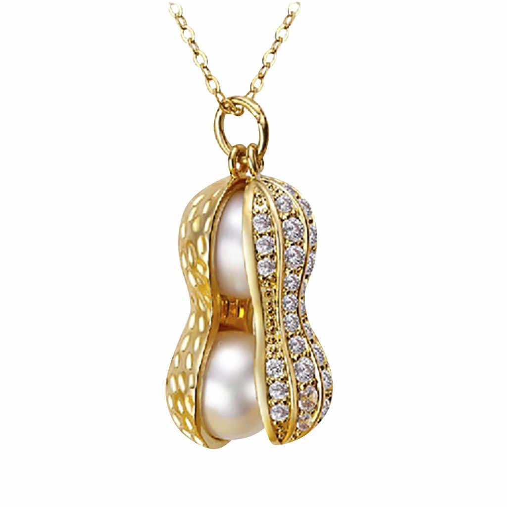 女性の真珠ナットネックレスジュエリー鎖骨チェーンペンダントゴールドカラービーズムーンスターホーンクレセントチョーカーネックレス 2 #467D020