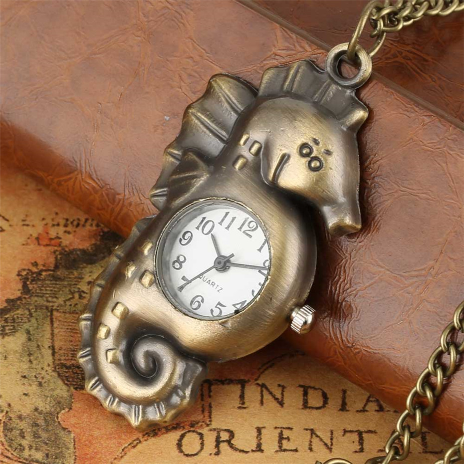 Tiny Seahorse Shape Creative Bronze Quartz Pocket Watch Necklace Sweater Chain Lovely Pendant Clock Gifts For Kids