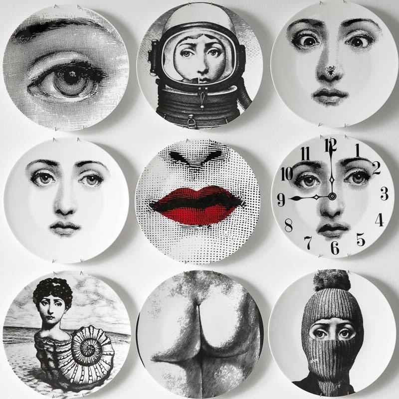 8/10-inch Fornasetti Wall Plates Home Decoration Christmas Dinner Plate Decorative Wall Dishes China