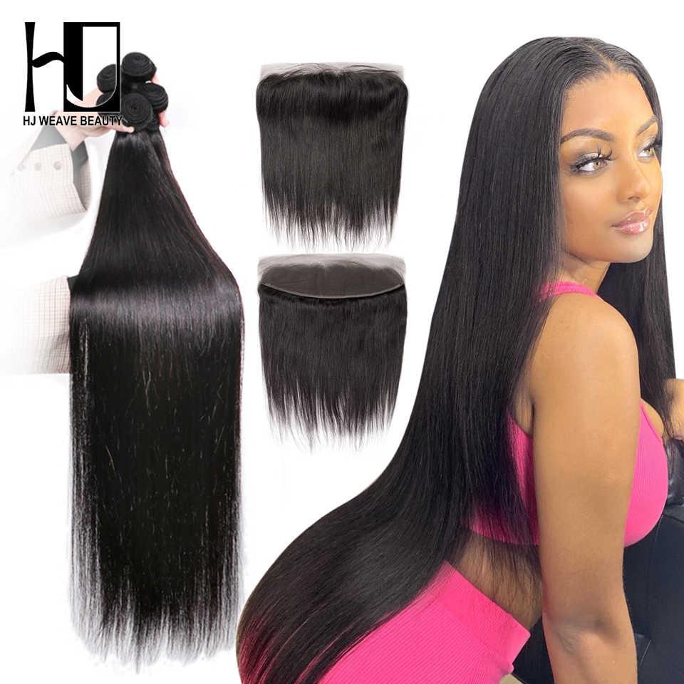 30 34 40 Polegada pacotes com 13x4 fechamento do laço frontal em linha reta tecer cabelo brasileiro 3 4 pacotes com fechamento remy extensão do cabelo