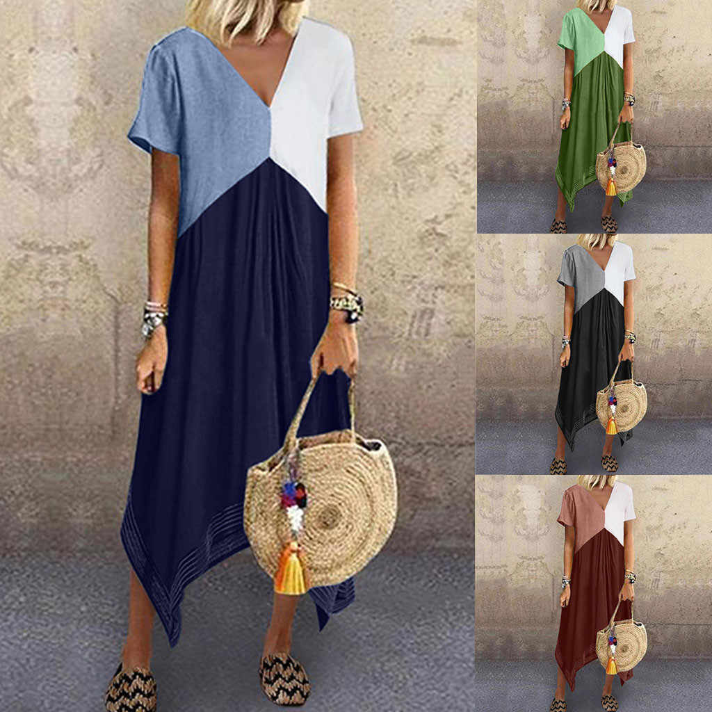 קיץ שמלת נשים מקרית טלאים קצר שרוול שמלת Oversize Loose כיסי Midi שמלת 2020 חדש בתוספת גודל שמלות נקבה