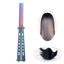 Butterfly Knife Comb Beard & Moustache Brushes Hairdressing Styling Tool Foldable Comb Stainless Steel Practice Training