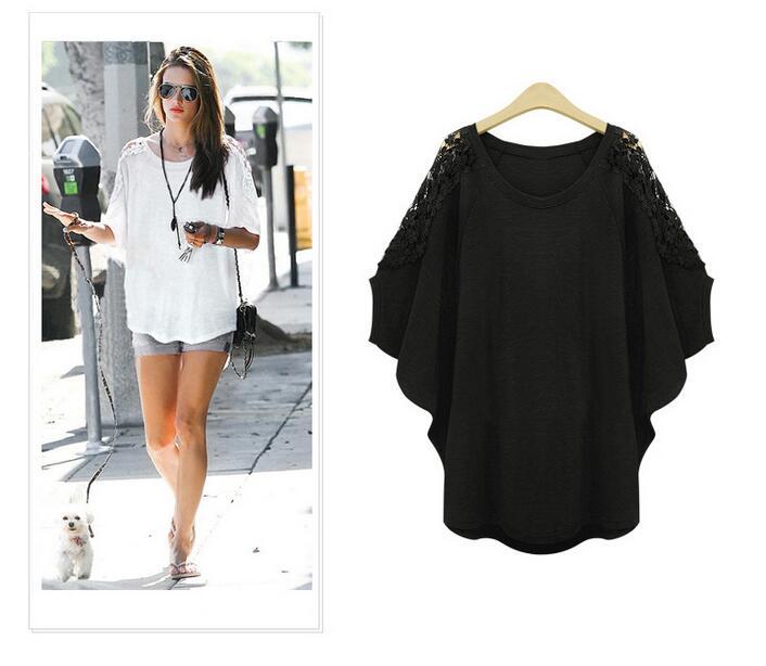 Plus Size Women Xl-5XL Fashion Tops Loose Shirts Plus Fertilizer XL Lace Blusas Lace Bat Sleeve Loose T-Shirt Three Quarter