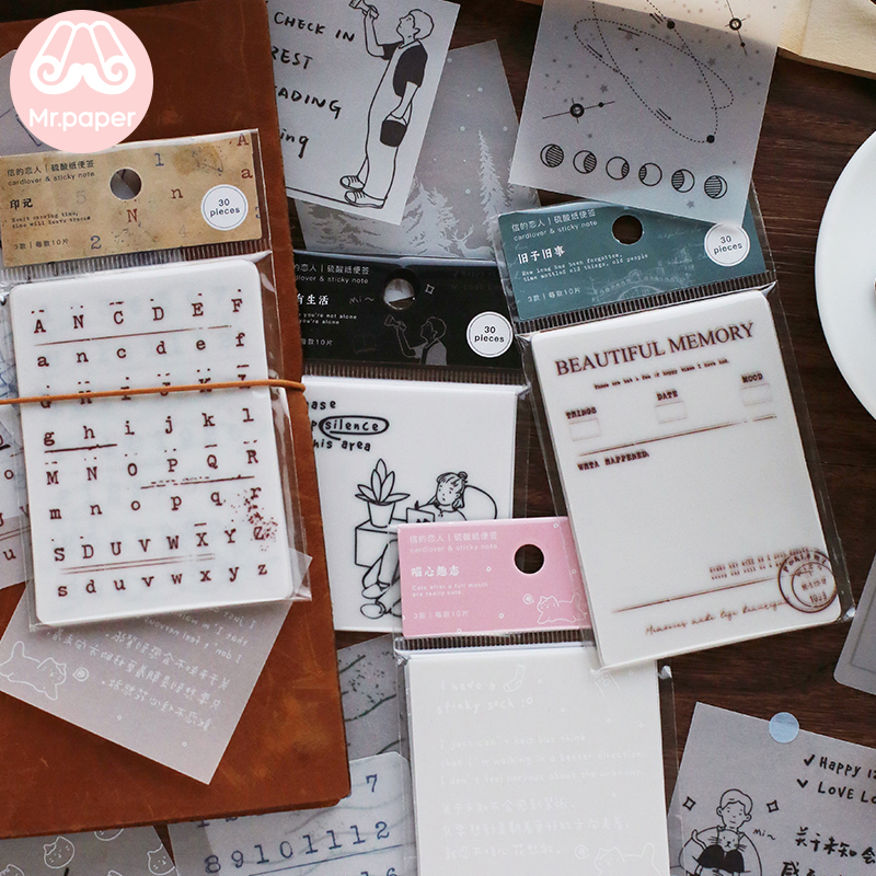 Mr Paper 30pcs/lot Vintage Retro Old Century Memo Pads Transparent Sulfate Butter Paper Bullet Journal Loose Leaf Memo Pads
