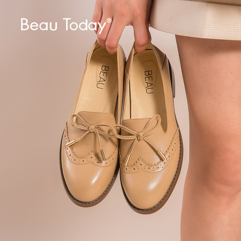 BeauToday Loafers Women Genuine Calfskin Leather Bow-knot Brogues Round Toe Handmade Slip On Casual Ladies Flats 27356