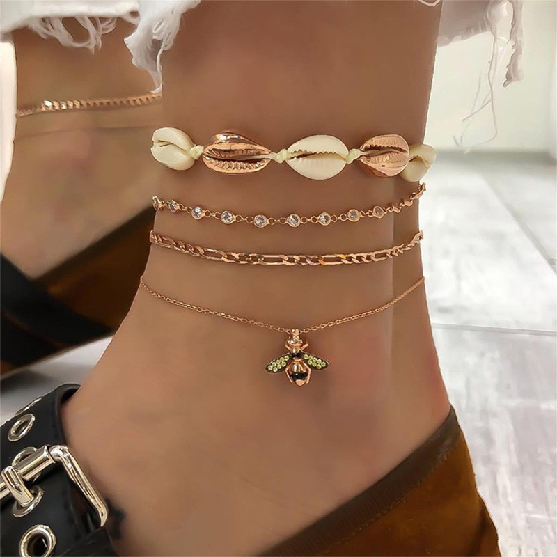 Tocona Beach Gold Metal Shell Crystal Bee Chain Pendant Anklets For Women Summer Multi Layer Leg Bracelets Foot Jewelry 7117