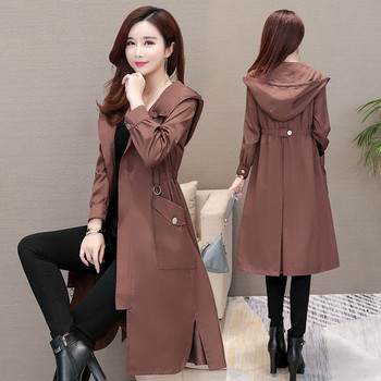 2019 Spring Autumn Classic Long Trench Coat Women Casual Thin Windbreaker Female Overcoat pullover