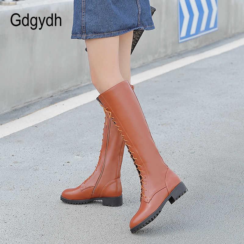 Gdgydh 2019 ใหม่ Lacing ฤดูหนาวเข่ารองเท้าบูทสูงรองเท้าส้นสูงซิปฤดูใบไม้ร่วงยาง Sole สีน้ำตาลส้นรองเท้าบูทยาว big Size 43