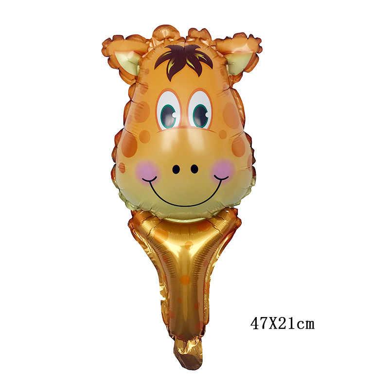 1pcs Dos Desenhos Animados de Animais Mão Vara Balões tigre leão Macaco vaca Zebra Veados Decoração Do Partido de Aniversário da criança kid globos de Balão