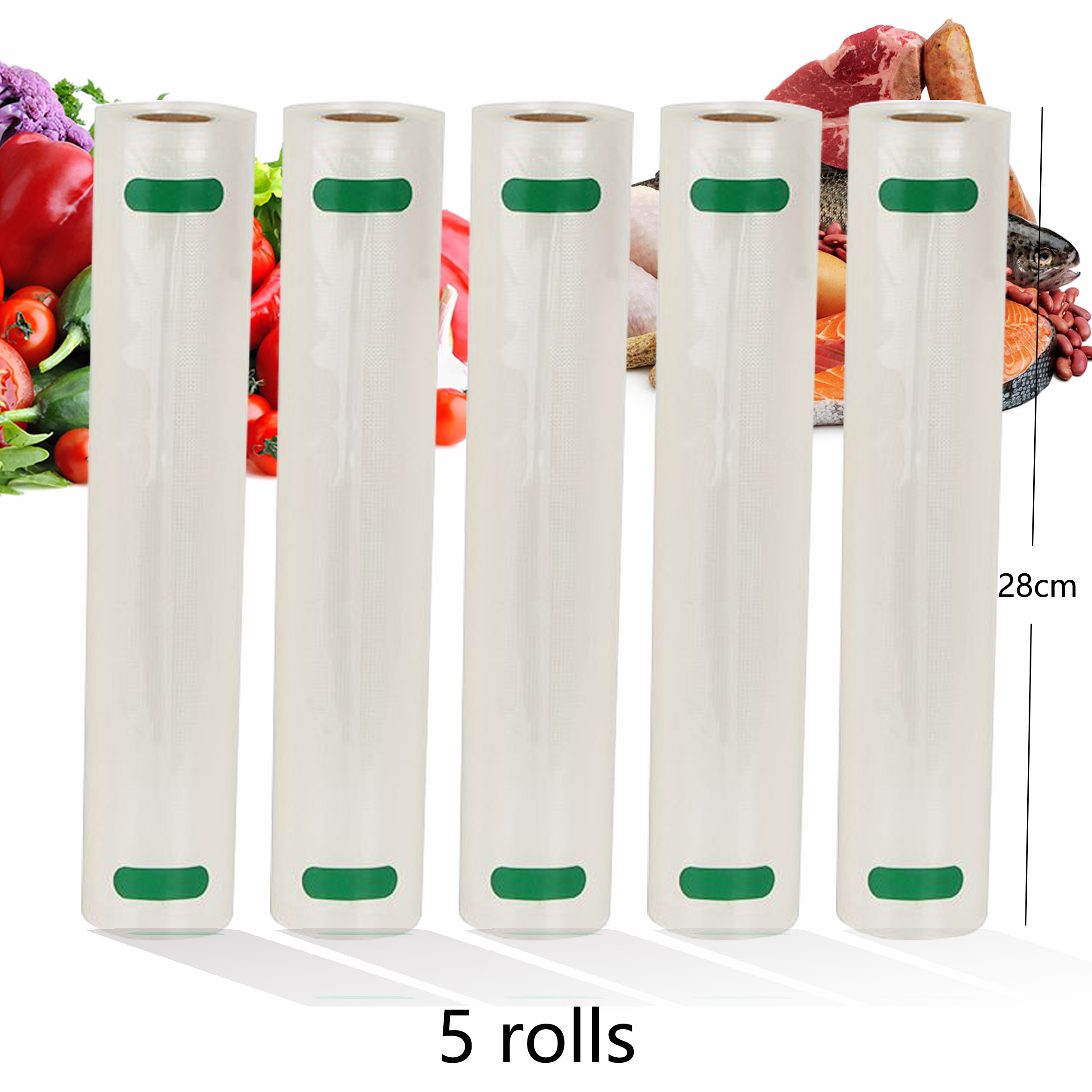 5 Rolls/Lot Kitchen Food Vacuum Bag Storage Bags For Vacuum Sealer Vacuum Packaging Rolls 12/15/20/25/28cm*500cm