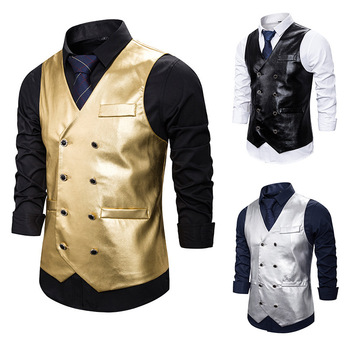 Menswear Vest Nightclub Talent Bright Side Fashion Dynamic Solid Color Double Breasted Men's Vest водолазка burton menswear london burton menswear london bu014emgfzg8