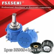 3590S-2 3590S 3590 de precisión potenciómetro multivuelta 10 anillo ajustable resistencia + 1 Uds MF-A03 500 mando 1K 2K 5K 10K 20K 50K