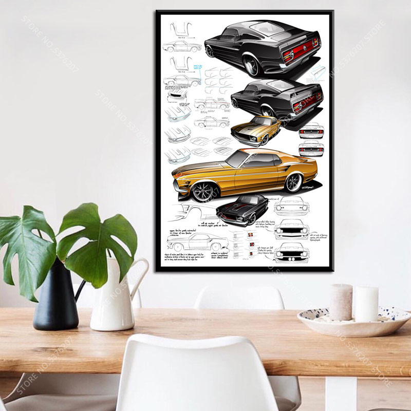 FORD MUSTANG 50th Anniversary 6 GENERATIONS American Muscle Car POSTER
