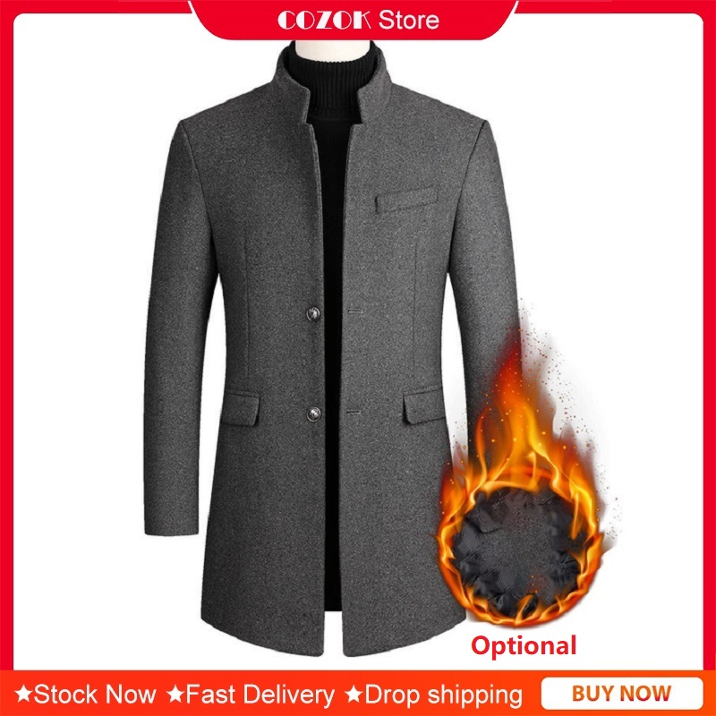 [Fur Optional] Fashion Men's Clothing Woolen Jacket Coats Wool & Blends Winter Coat Mid-Long Trench Classic Solid Thickening