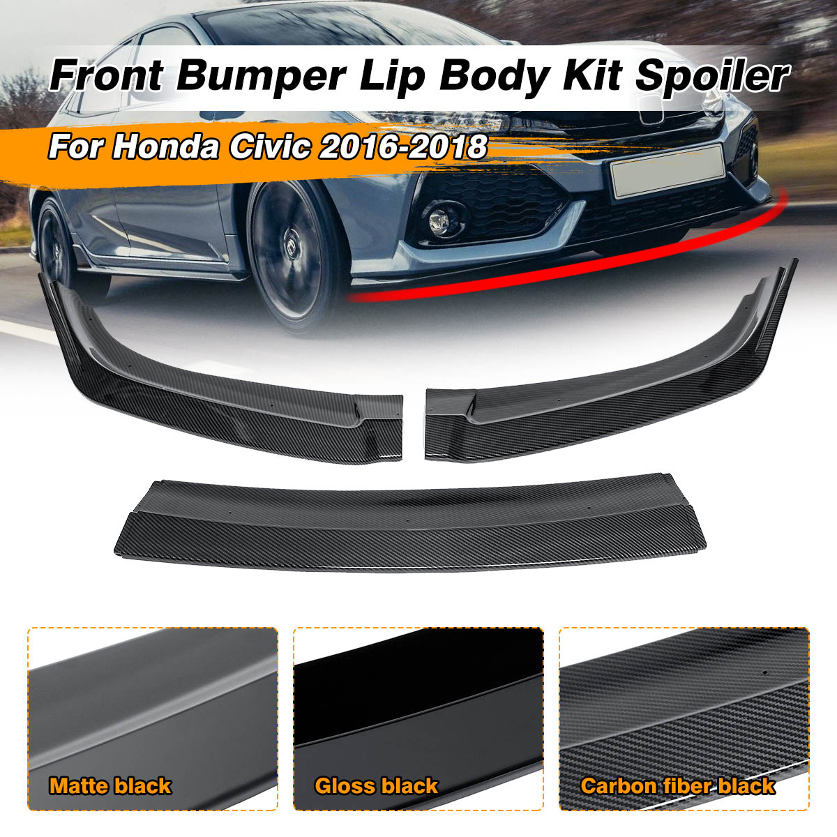 3Piece Car Front Bumper Lip Spoiler Diffuser Cover Trim For Honda For <font><b>Civic</b></font> 2016 2017 2018 Front Bumper Lip Splitter Fins Body image
