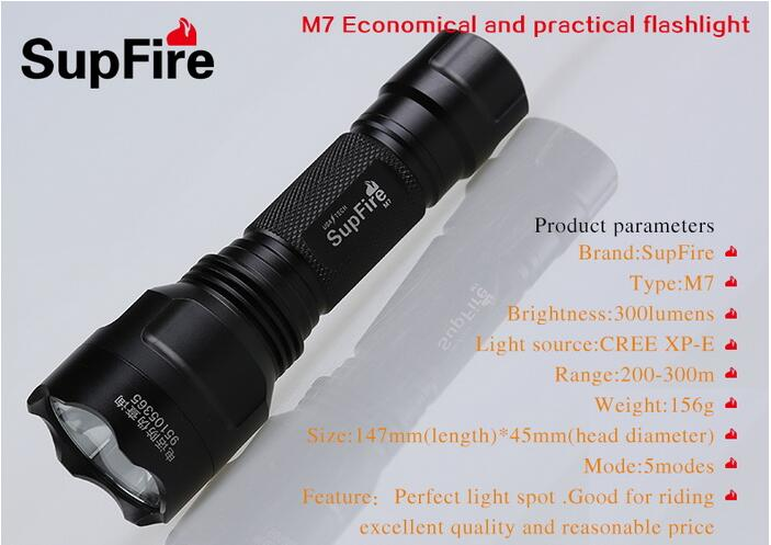 Купить с кэшбэком SupFire M7 CREE-XPE LED Flashlight Waterproof IP67 Flashlight Using  by 8650 Lithium Battery Rechargeable Led Pocket Lamp
