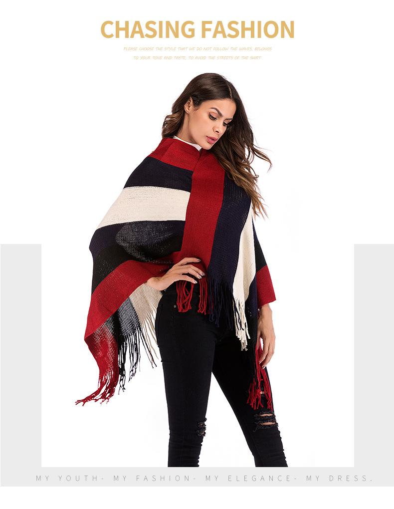 Женский трикотажный пуловер в радужную полоску с v образным