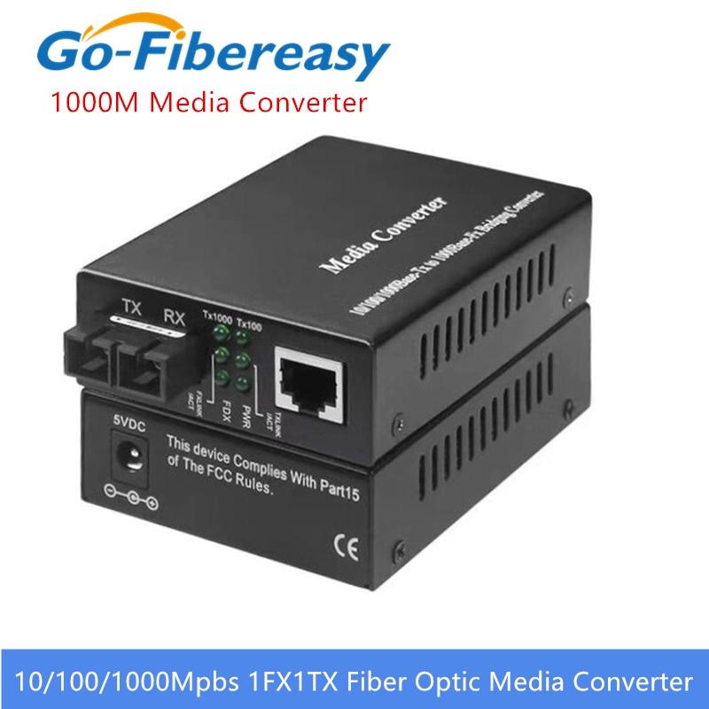 New 1000Mbps Single-mode Duplex Fiber Optical Transceiver Converter Wavelength 1310nm SC to RJ45 Gigabit Media