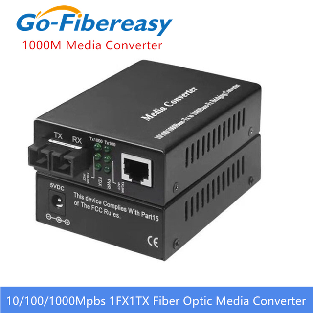 Gigabit Fiber Optic Media Converter 1000Mbps SC Singlemode Duplex Fiber Optic Konverter 20km Gigabit Fiber Optic Media Converter