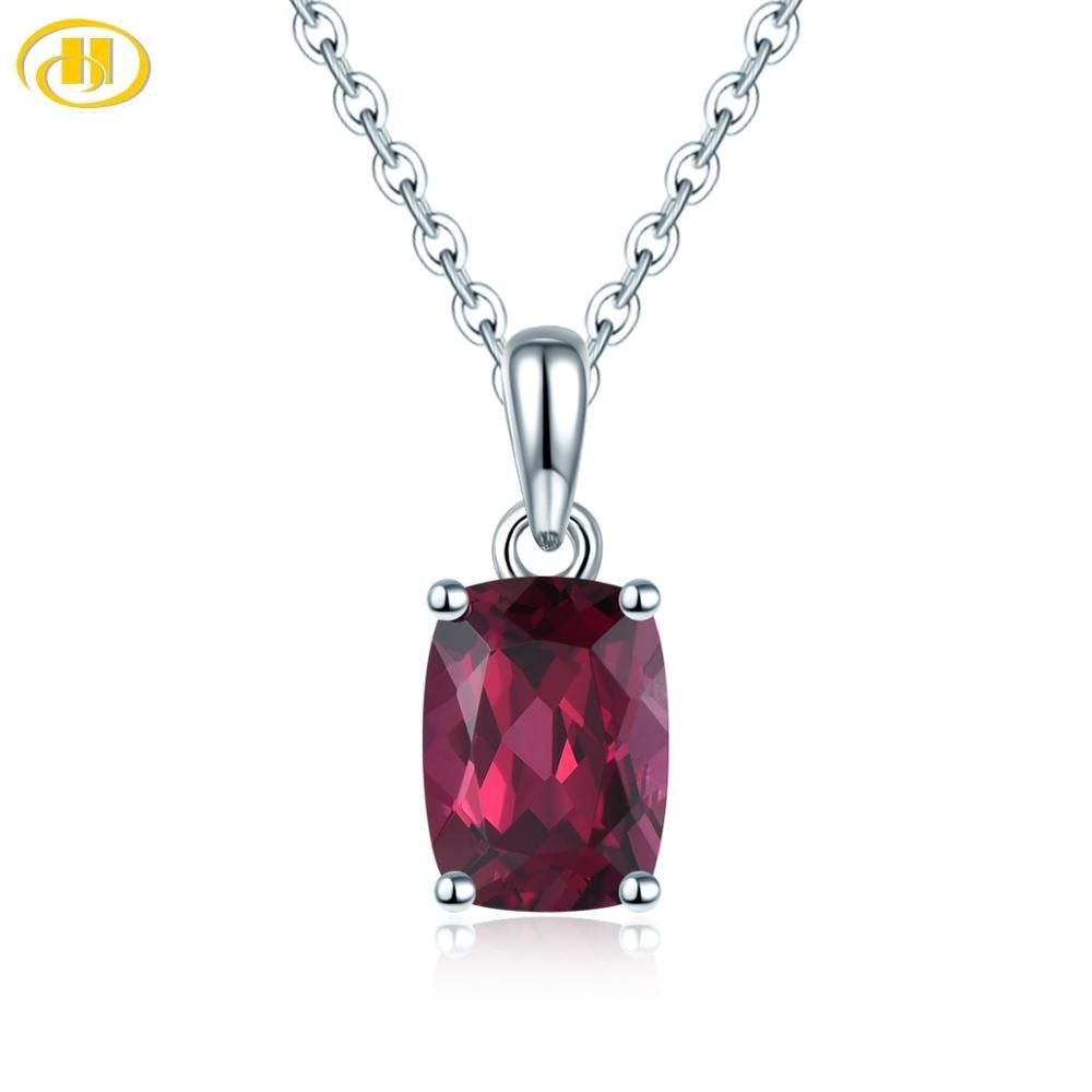 Hutang 925 Silver Pendant Genuine Gemstone Rhodolite Garnet Solid 925 Sterling Silver Chain Fine Simple Jewelry For Women Girl