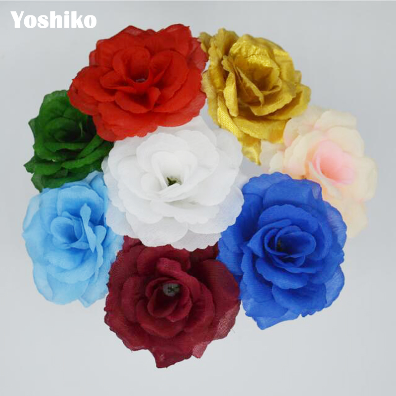10 Pcs Artificial Rose Silk Flowers Heads for Wedding decoration DIY Floral Craft Bouquet Garland Flower Crafts Supplies