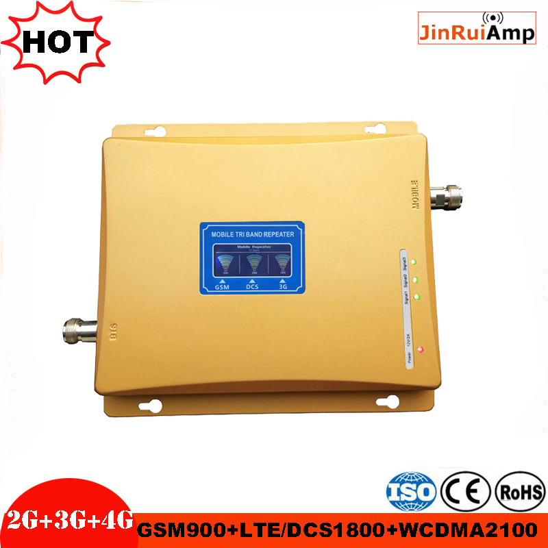 Gain 70dB 2G 3G 4G Tri Band Cellular Signal Booster GSM Repeater 900MHz+DCS LTE 1800MHz+WCDMA UMTS 2100MHz Amplifier With LCD