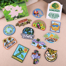 Various Embroidered Iron on Patches Creative Badges Environmental Protection Parches for Clothing DIY Stripes Clothes Stickers G russia logo letter embroidered patches for clothing diy stripes applique clothes stickers iron on creative badges biker parches