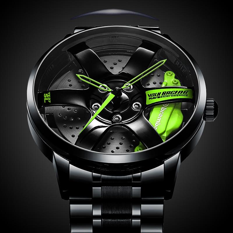 NIBOSI Creative Watch 3D Wheel Skeleton Watches Men's Waterproof Quartz Watch Top Brand Luxury Mal Clock