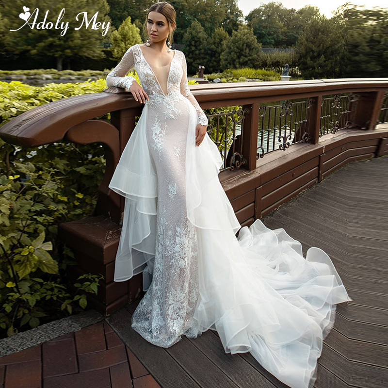 Adoly Mey Sexy Deep V-Neck Backless Detachable Train Mermaid Wedding Dresses 2020 Luxury Beaded Appliques Princess Wedding Gown