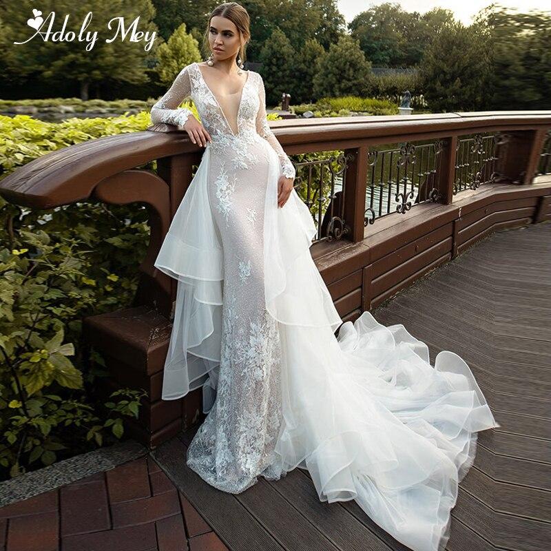 Adoly Mey Sexy Deep V-Neck Backless Detachable Train Mermaid Wedding Dresses 2020 Luxury Beaded Appliques Princess Wedding Gown
