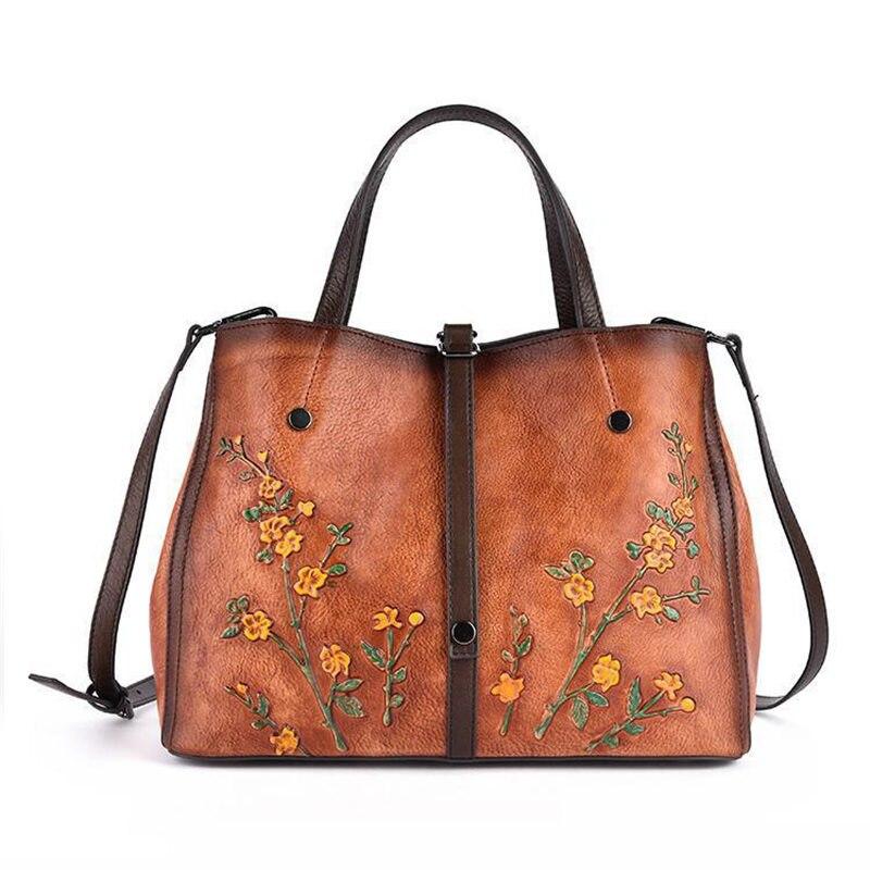 Nesitu Vintage marron noir jaune fleur motif 100% en cuir véritable femmes sac à main fille épaule sac de messager fourre-tout femme M158
