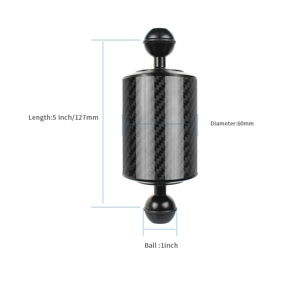 Carbon Fiber Extension Tray Arm Float Buoyancy Aquatic Arm Dual Ball SLR Camera Diving for Gopro yi EKEN for DJI for OSMO Action 23