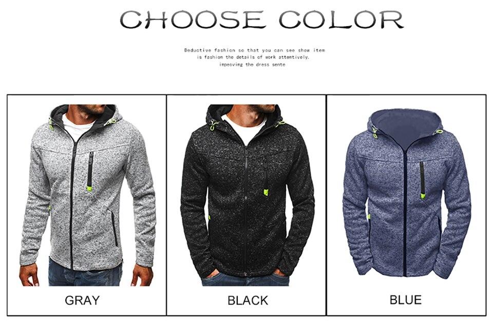 Men Sports Casual Wear Zipper Fashion Tide Jacquard Hoodies Fleece Jacket Fall Sweatshirts Autumn Winter Coat 16