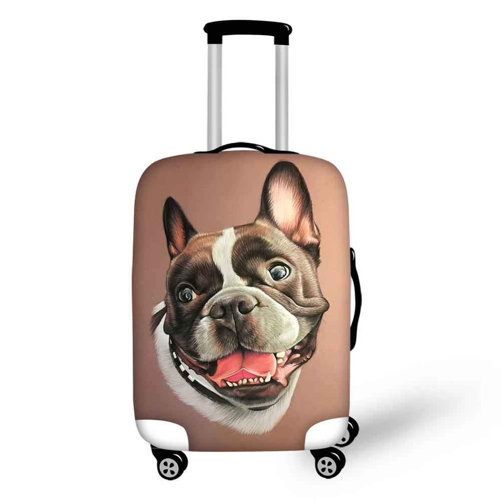 HaoYun Cute Suitcase Protective Cover Little Bulldogs Pattern Elastic Dust-proof Cover Waterproof Travel Luggage Accessories