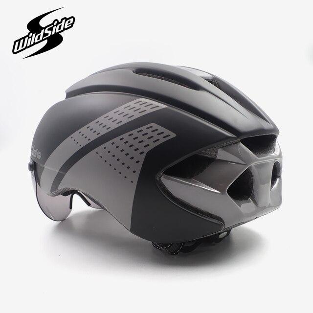 Aero capacete tt tempo julgamento ciclismo capacete para homens mulheres óculos de corrida de estrada da bicicleta capacete com lente casco ciclismo equipamentos 3