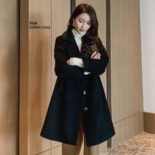 купить Winter Autumn Coats Women Long Woolen Coat Single Breasted Slim Type Female Outerwear Overcoat по цене 3013.49 рублей