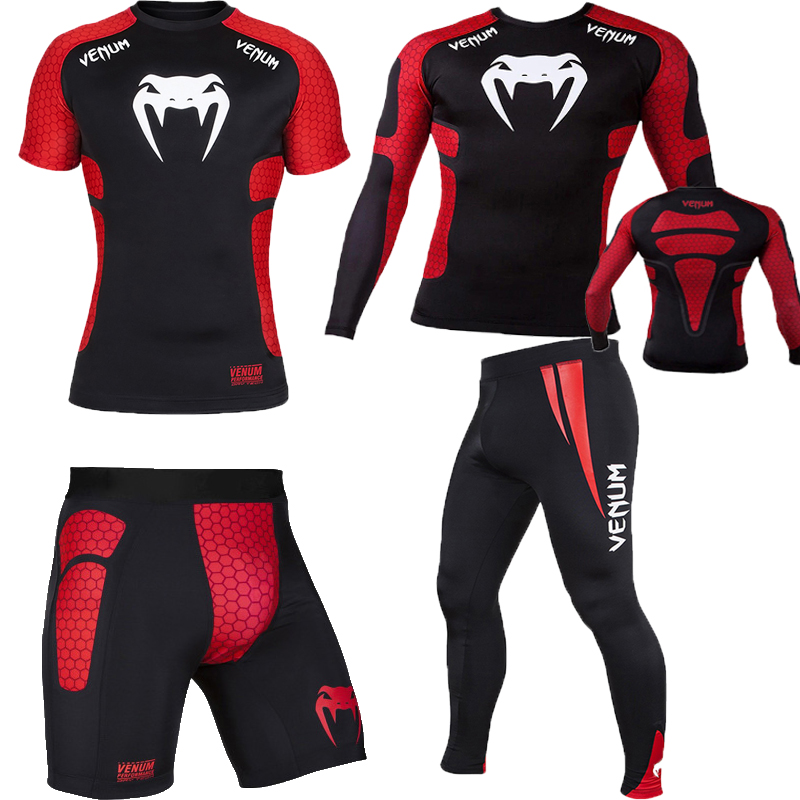 4pcs / Set Men's Tracksuit Gym Fitness Compression Sport Suit Clothes Running Jogging Sports Wear Exercise Workout Tights